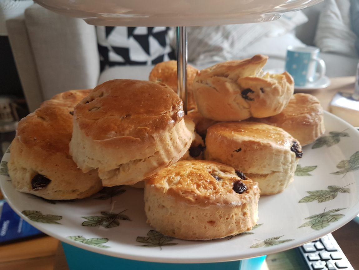 gluten free scones on cake stand