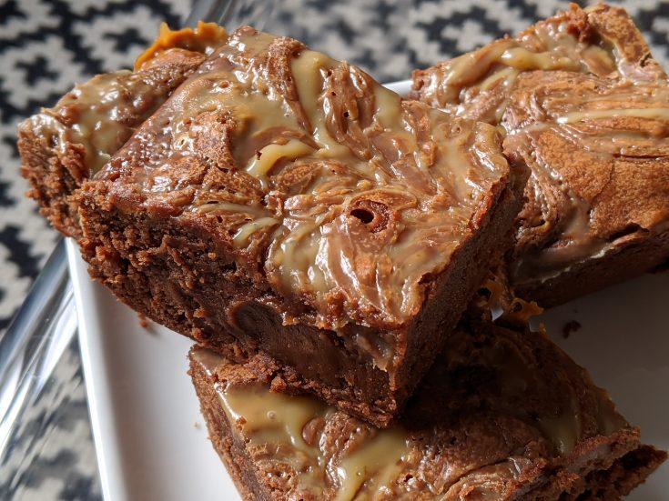 Salted Caramel Swirl Brownies (Gluten Free)