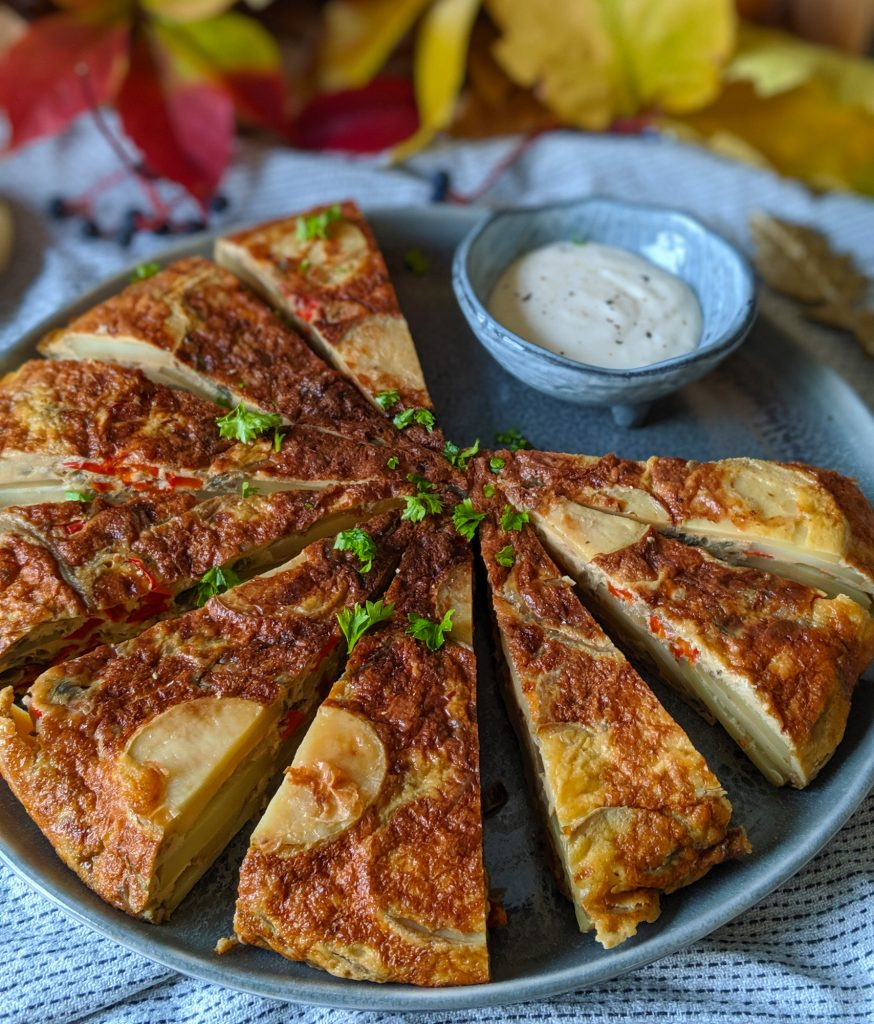 red pepper spanish tortilla with lemon aioli