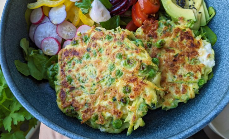 Courgette, Pea & Feta Fritters