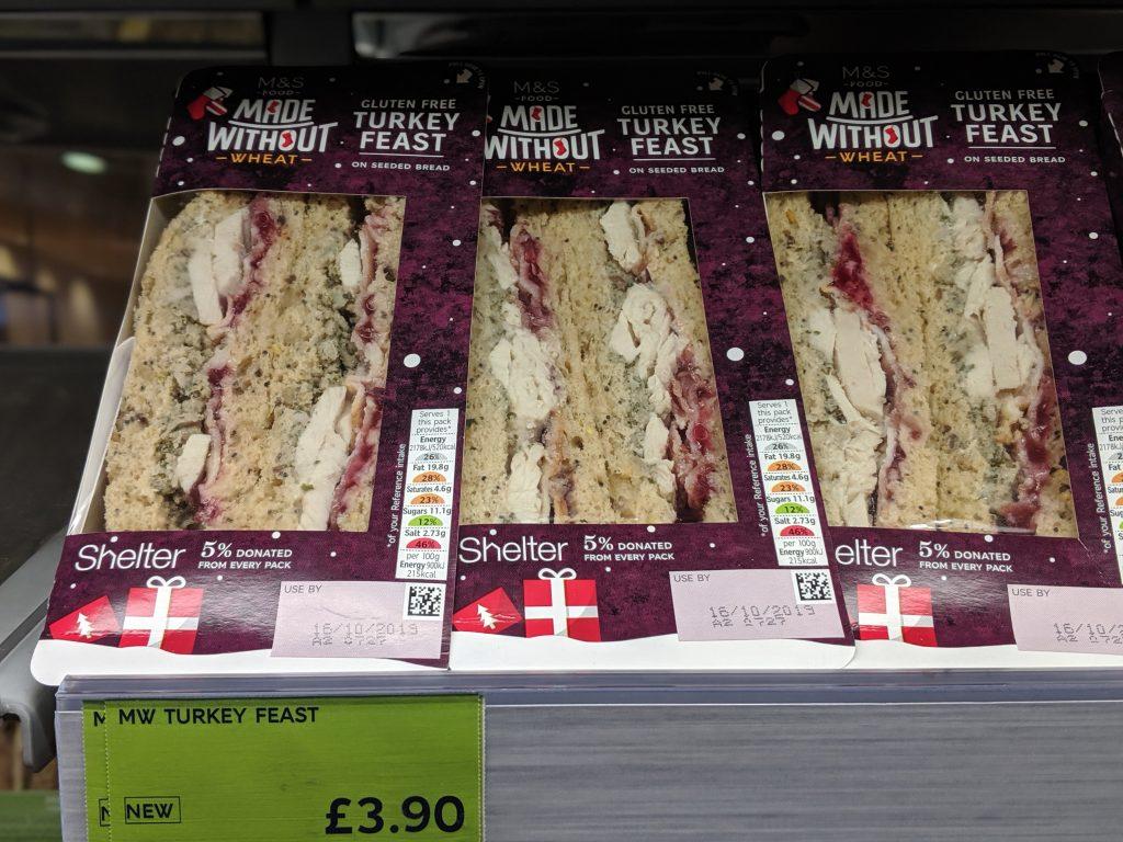 Gluten Free Christmas sandwich marks and spencer turkey feast