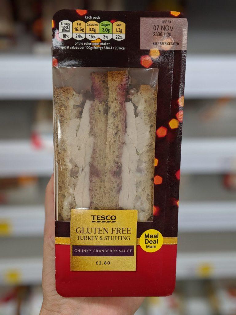 glutenfreie Weihnachten Sandwich Tesco Truthahn und Füllung