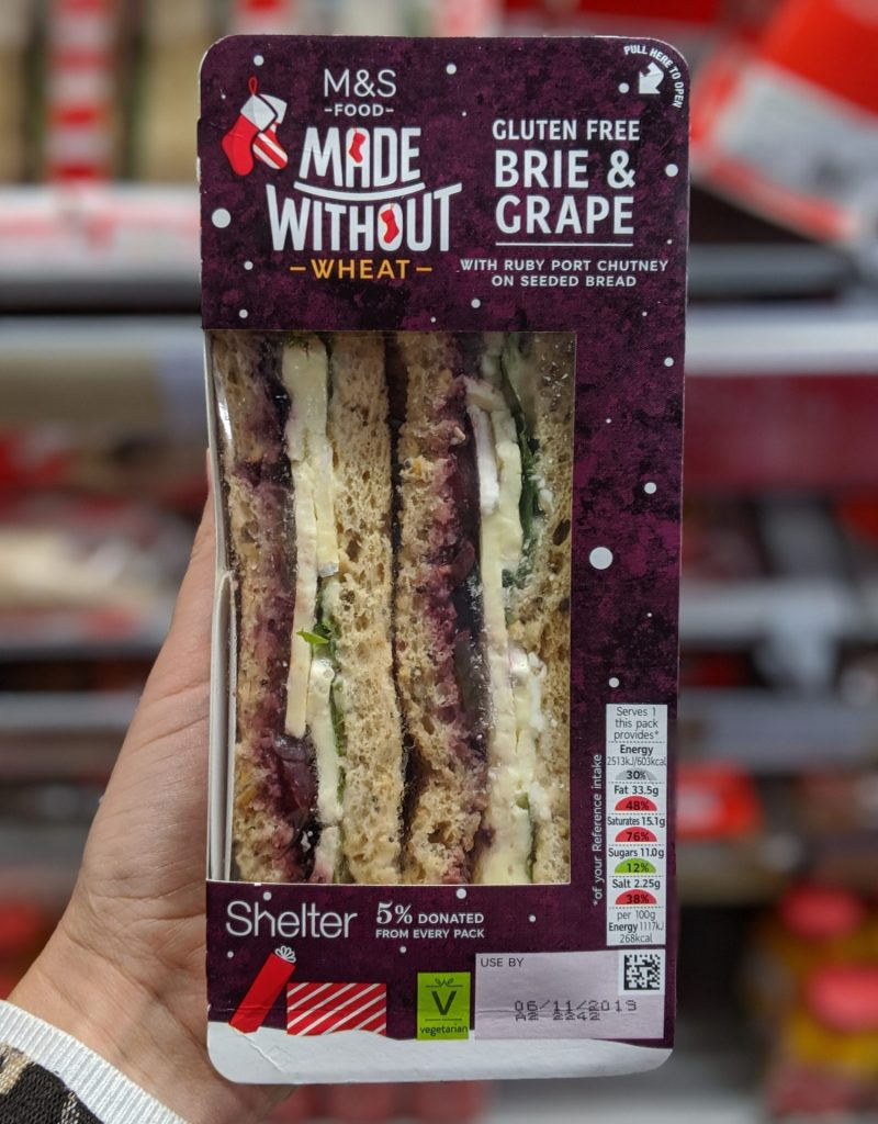 Gluten Free Christmas sandwich marks and spencer brie and grape