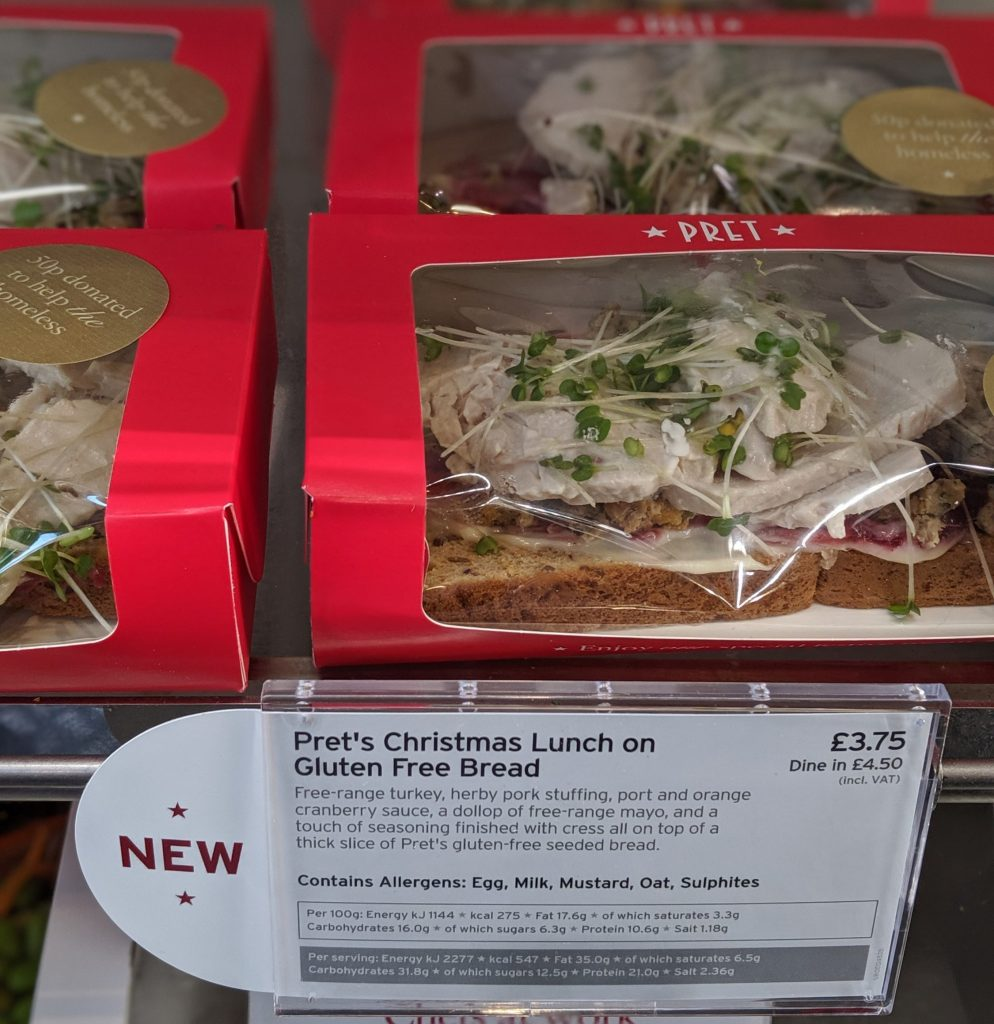 Pret Christmas Lunch on Gluten Free bread