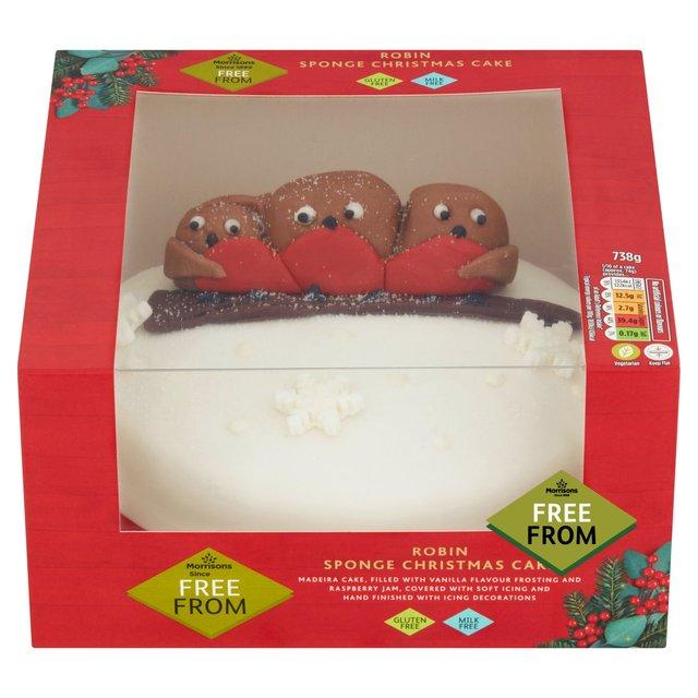 75 Gluten Free Desserts for the Festive Season - gluten free christmas robin sponge cake morrisons