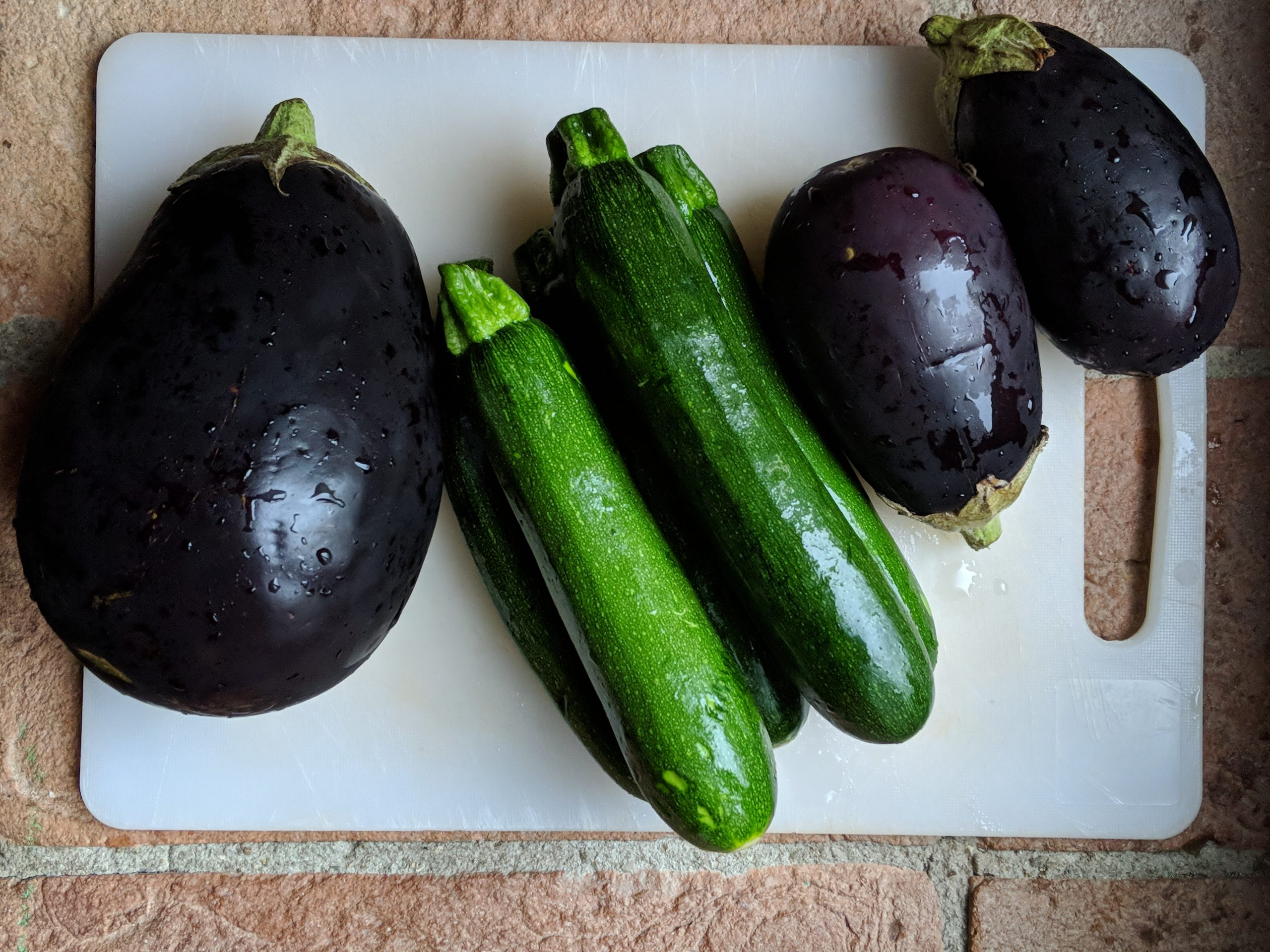 courgettes and aubergines