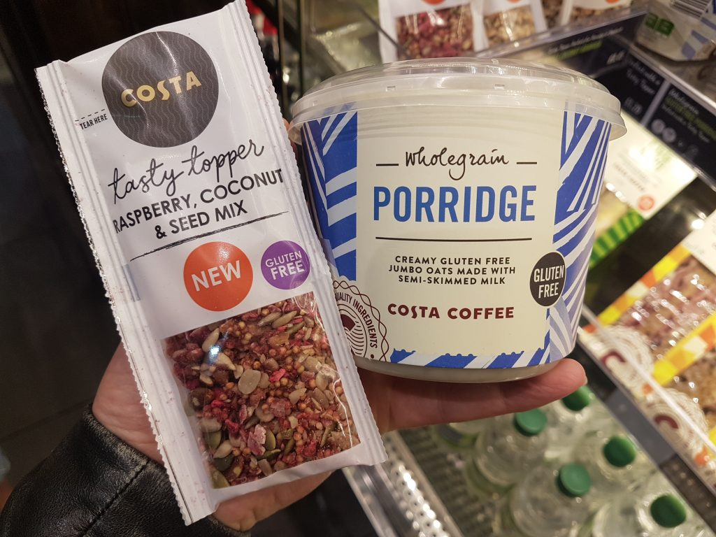 gluten free heathrow airport costa cofee porridge
