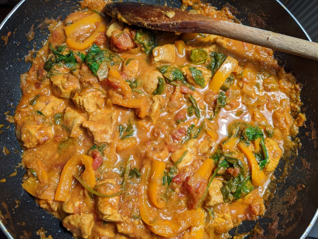 Making gluten free chicken curry