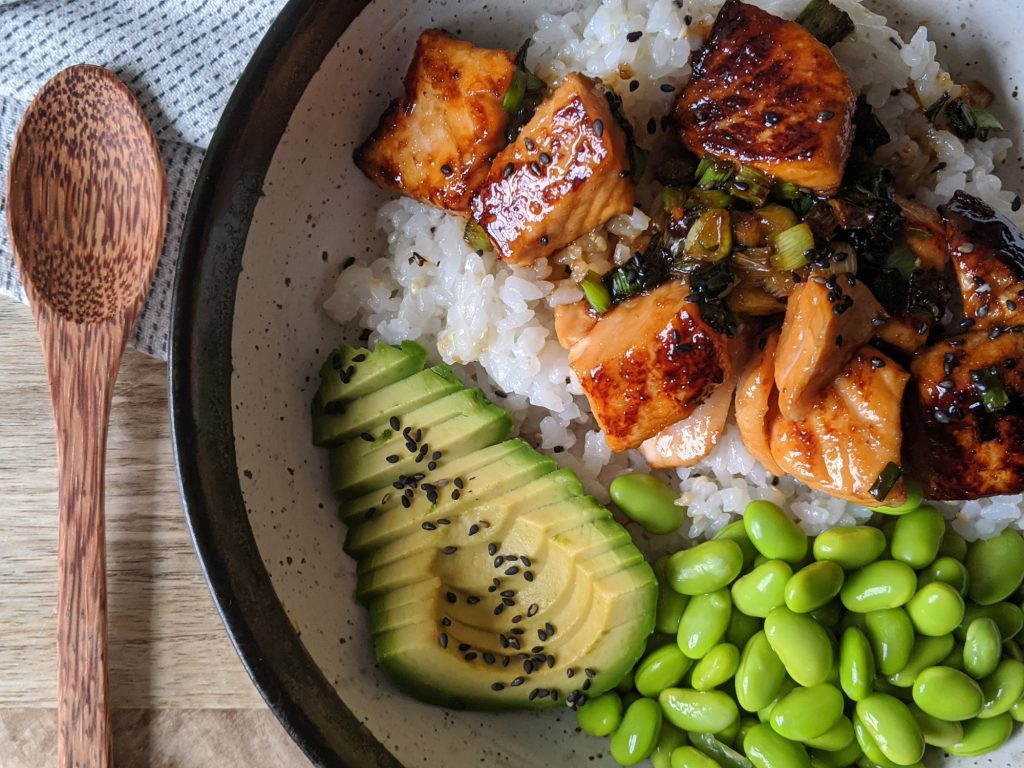 gluten free teriyaki salmon rice bowl