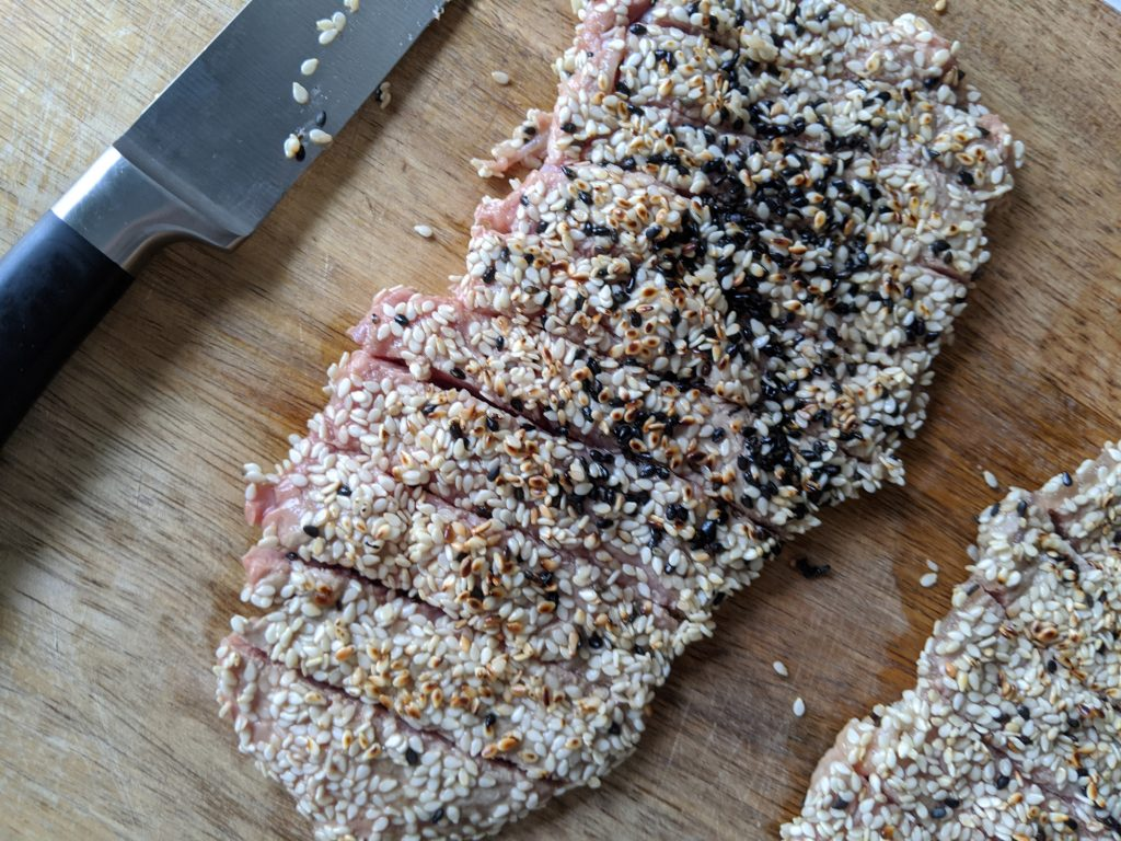 sliced sesame steak