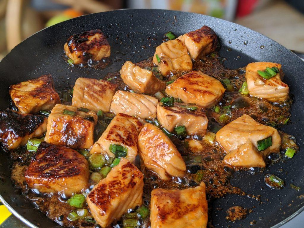gluten free teriyaki salmon in a pan