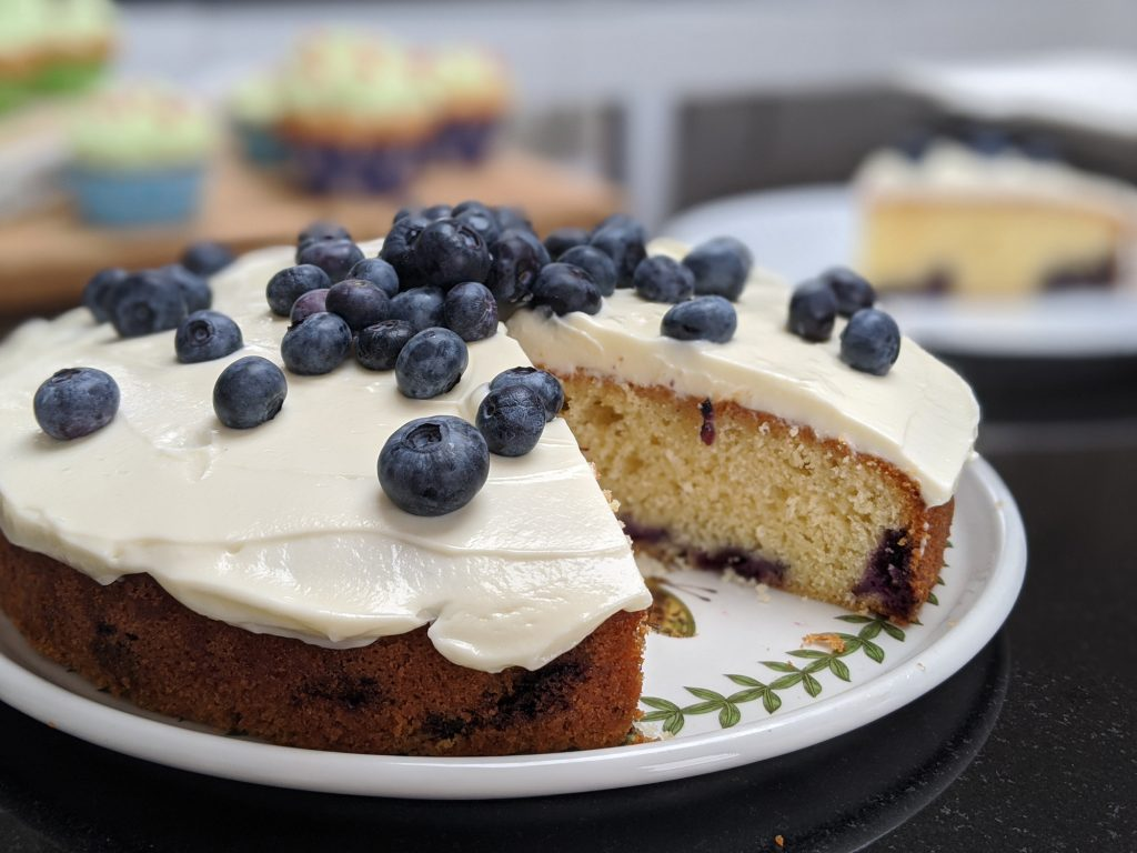 gluten free blueberry cake with cream cheese frosting