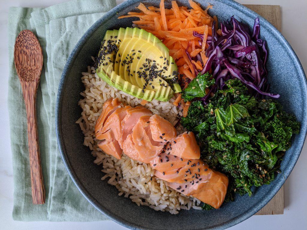 gluten free salmon buddha bowl