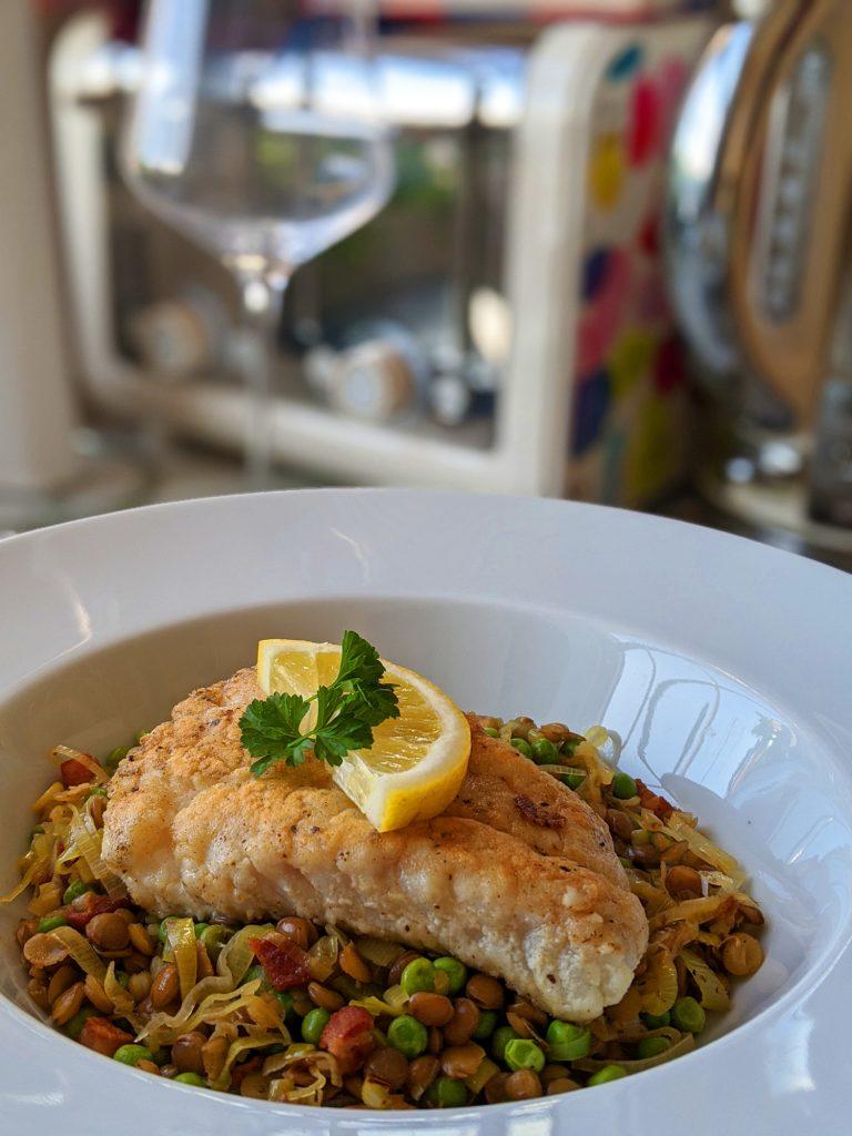 gluten free cod with peas pancetta lentils leeks