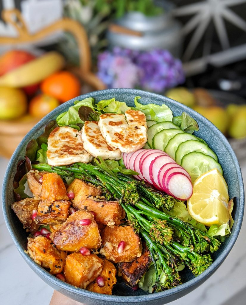 halloumi and sweet potato bowl