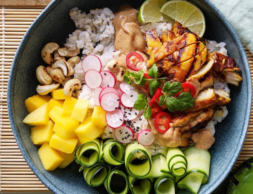 chicken satay rice bowl gluten and dairy free recipe