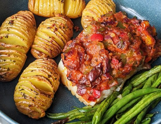baked cod with hasselback potatoes