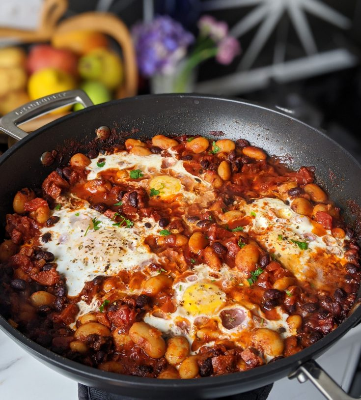One-Pan Brunch Smoky Beans, Chorizo & Poached Eggs