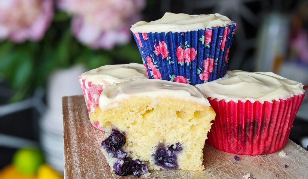 gluten free blueberry cupcakes with cream cheese frosting