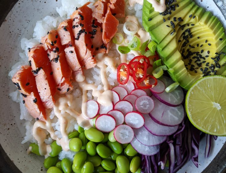 Seared Salmon Poke Bowl