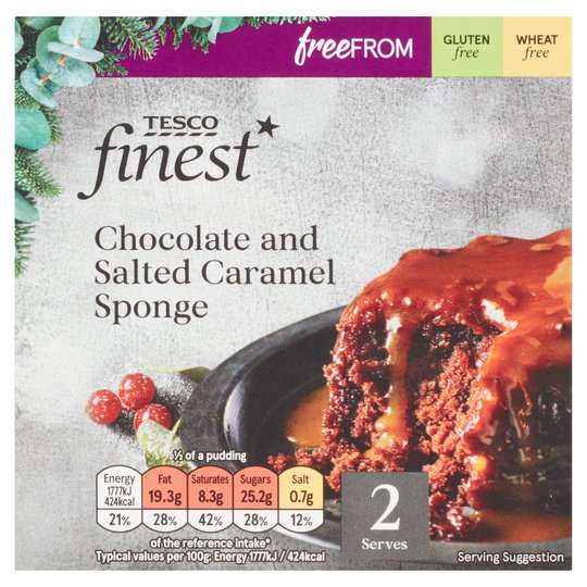 Tesco gluten free christmas 20202 chocolate and salted caramel sponge