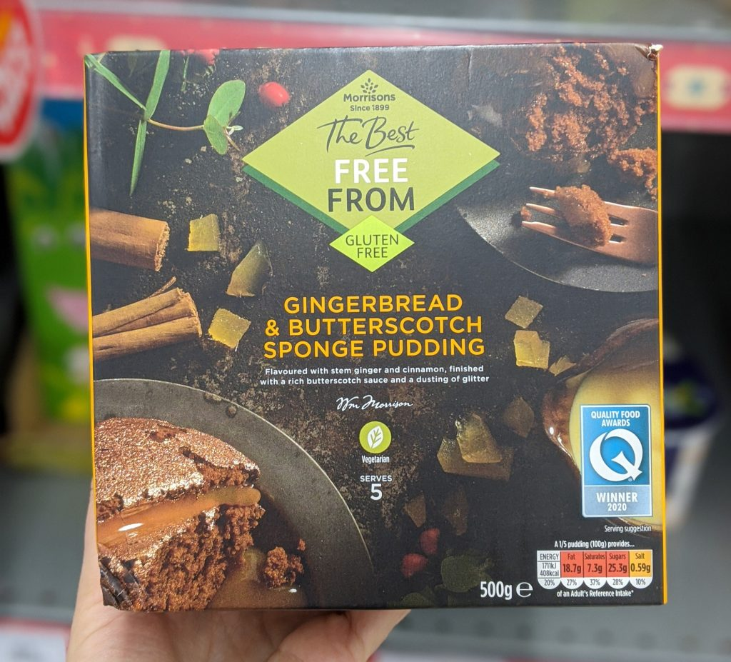 morrisons gluten free christmas free from gingerbread and butterscotch sponge pudding 2020