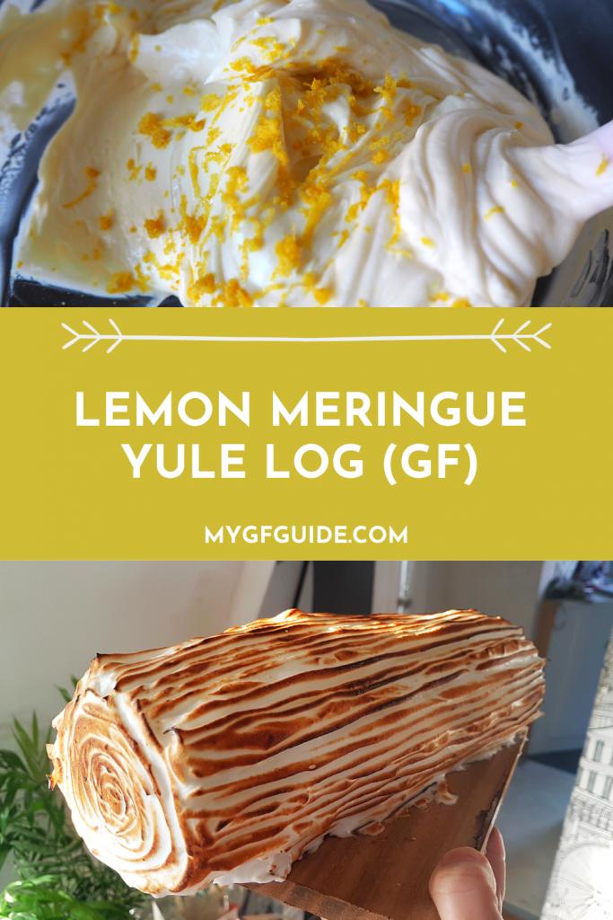 gluten free lemon meringue yule log recipe