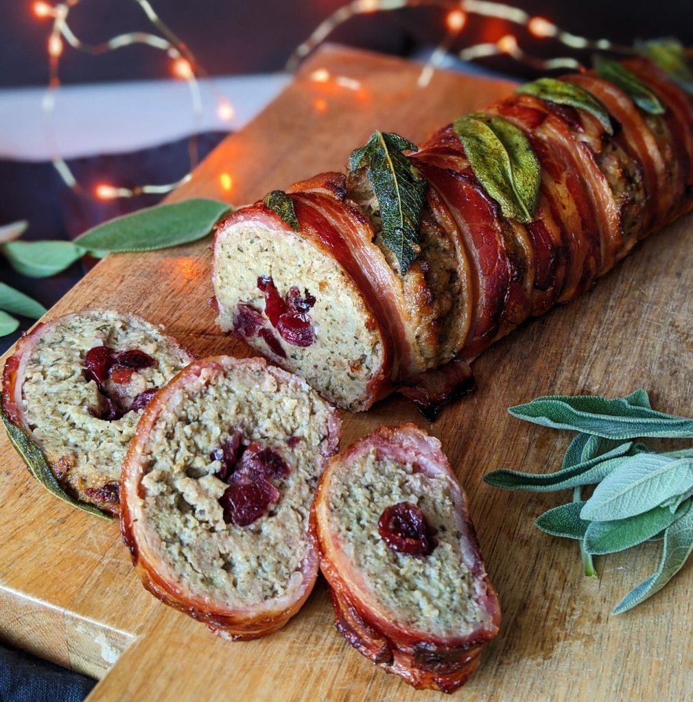 sage onion pork cranberry stuffing log