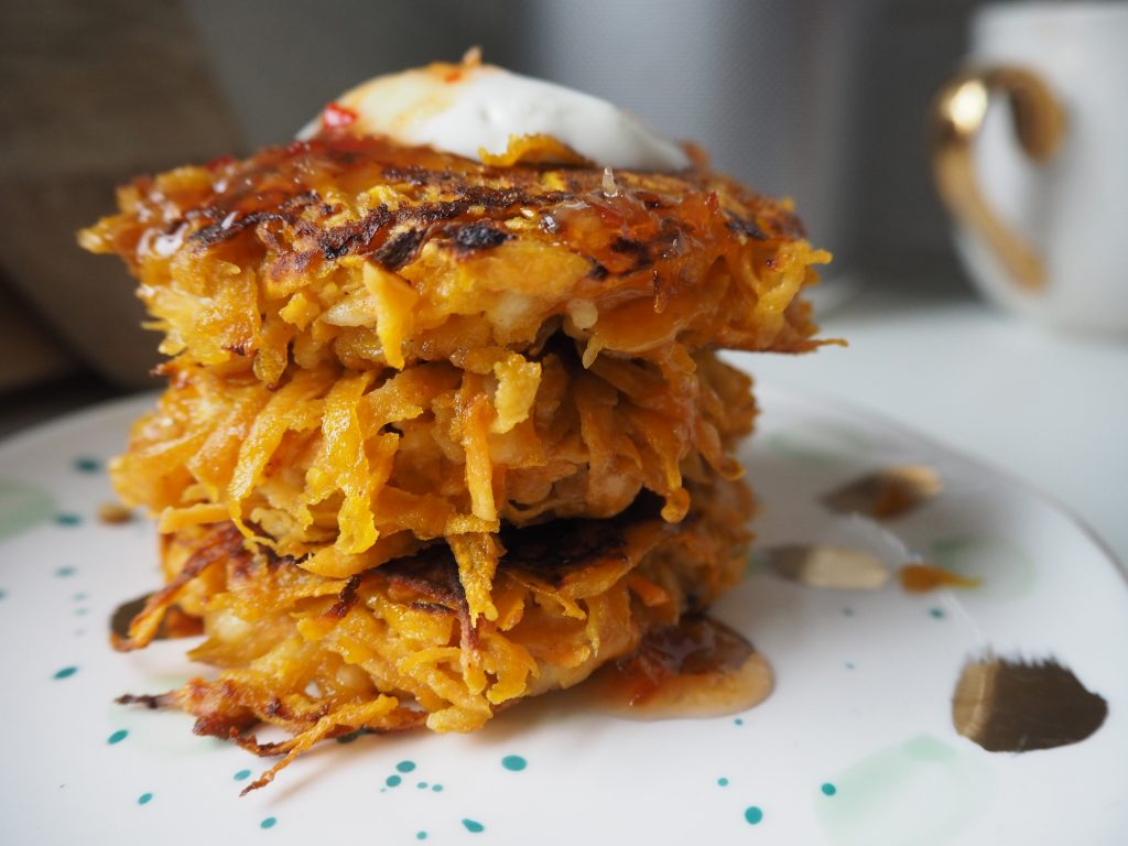 sweet potato and halloumi fritters