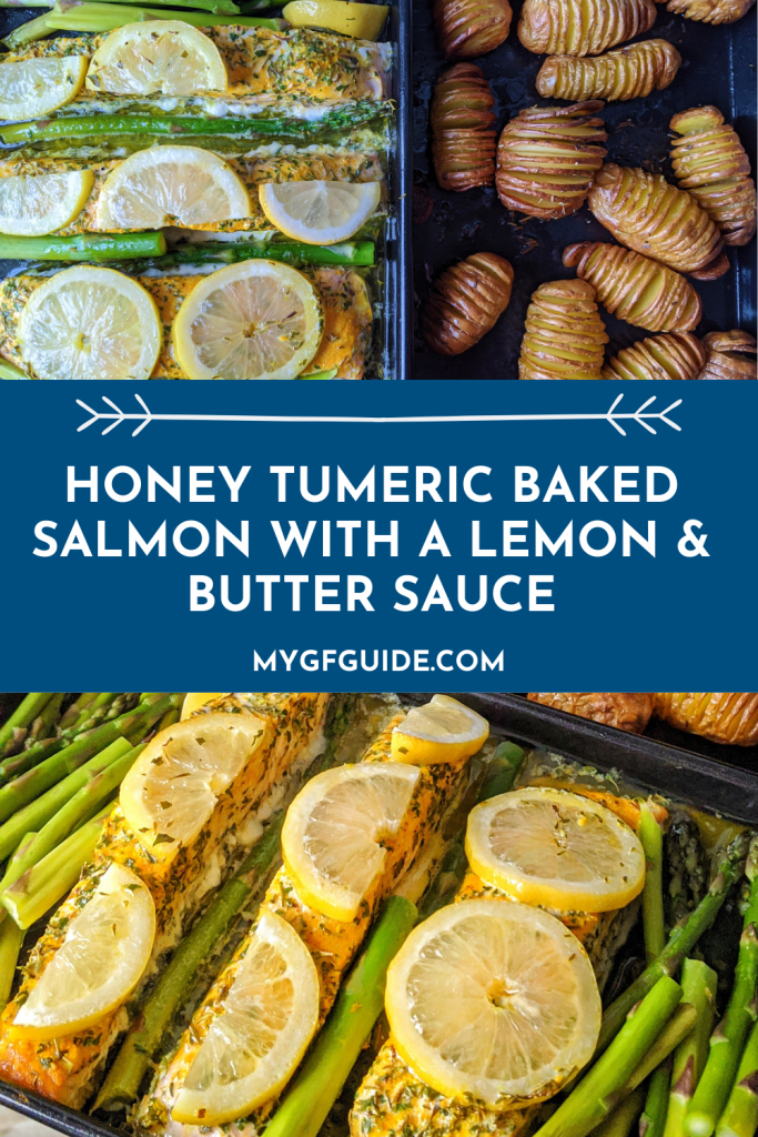 Honey Tumeric Baked Salmon with a lemon butter sauce pinterest