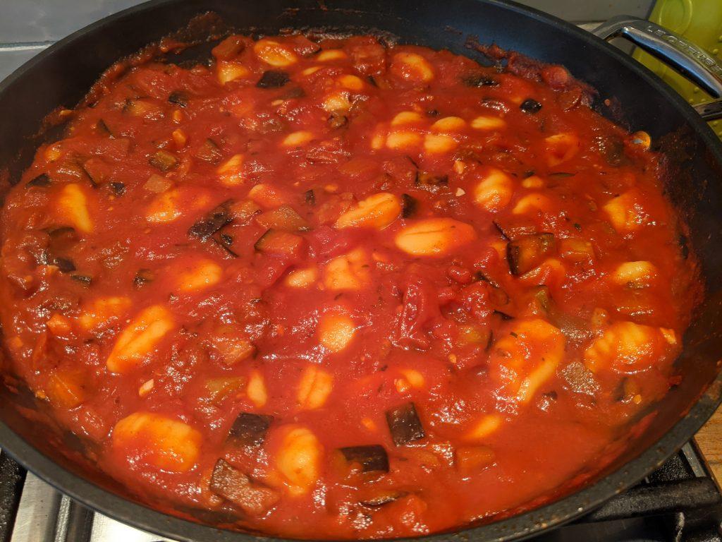 gnocchi in tomato chorizo aubergine sauce