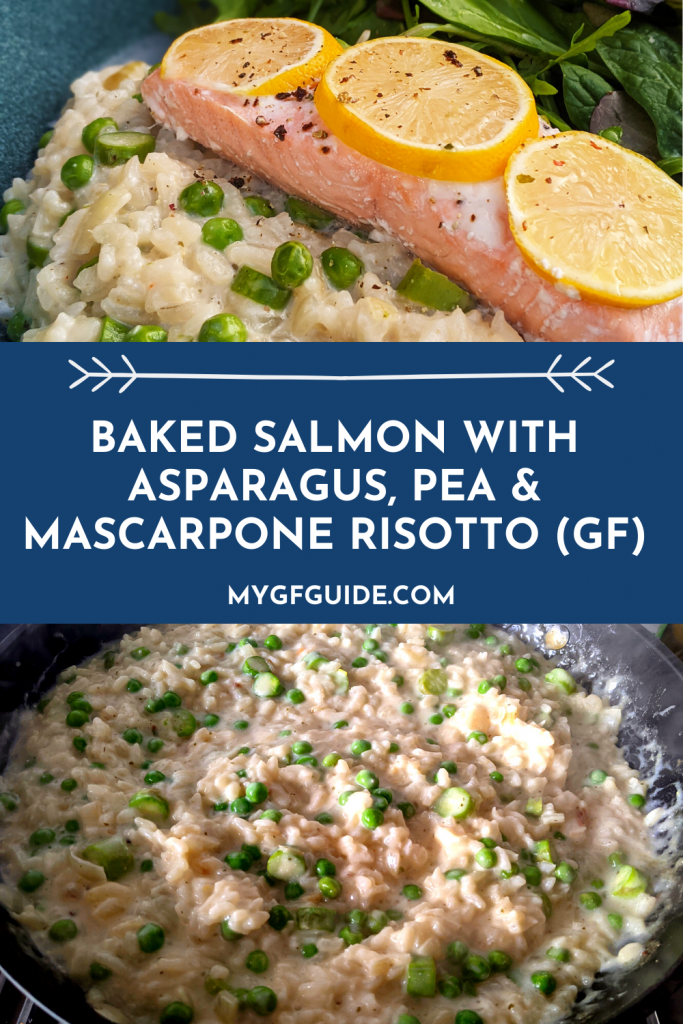 gluten free baked salmon with pea asparagus and mascarpone risotto recipe uk