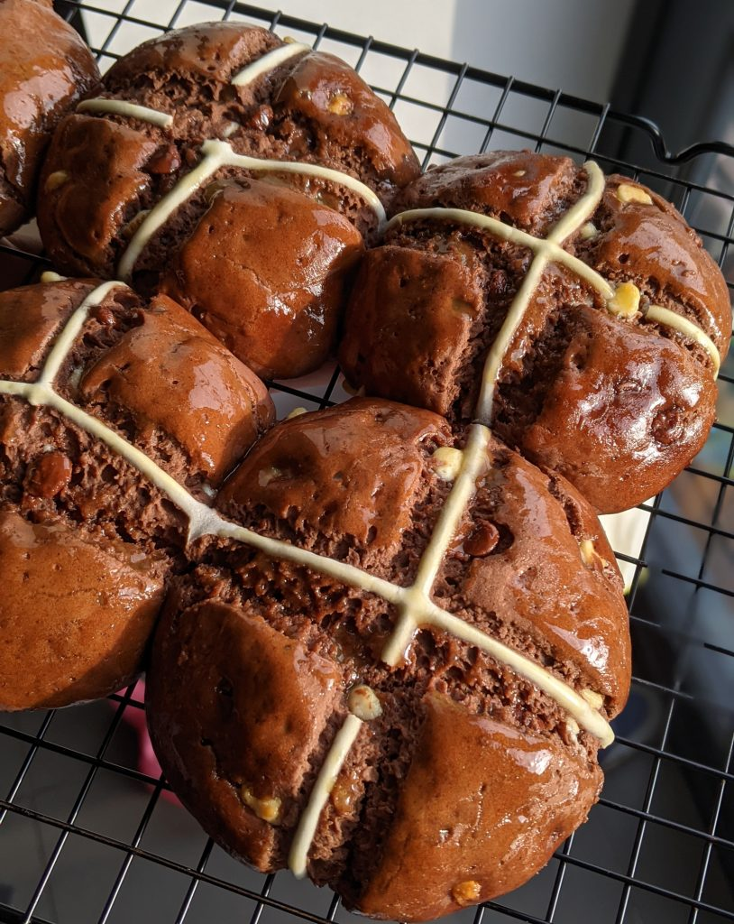 gluten free chocolate hot cross buns