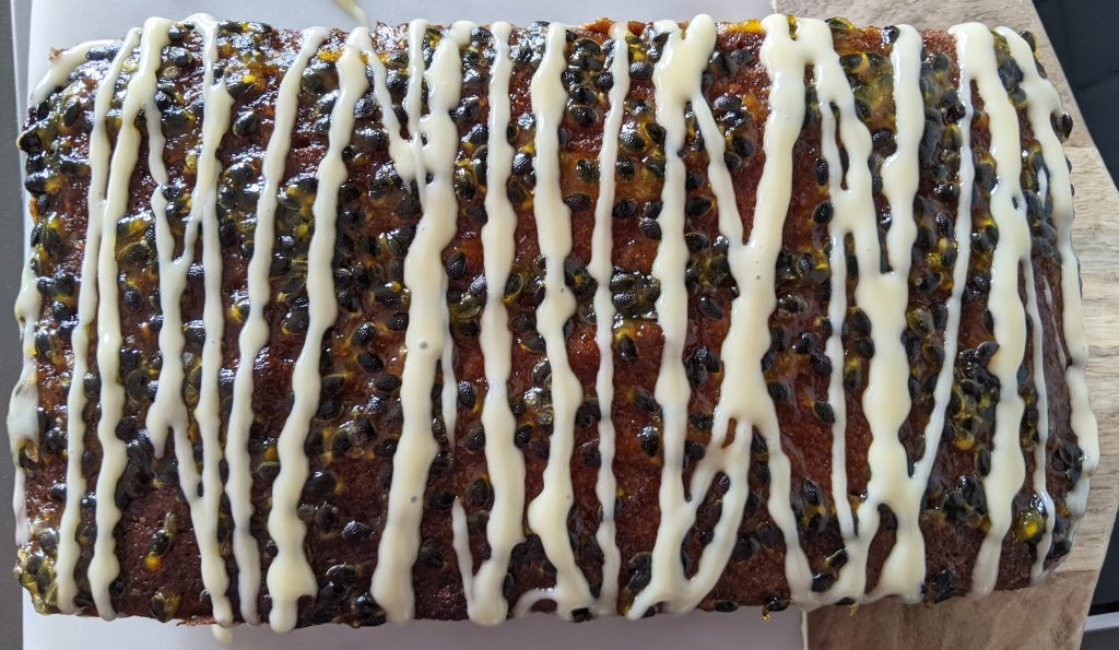 iced passion fruit loaf cake