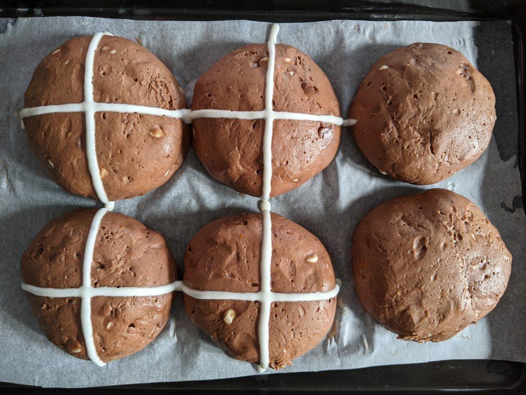 proving chocolate hot cross buns