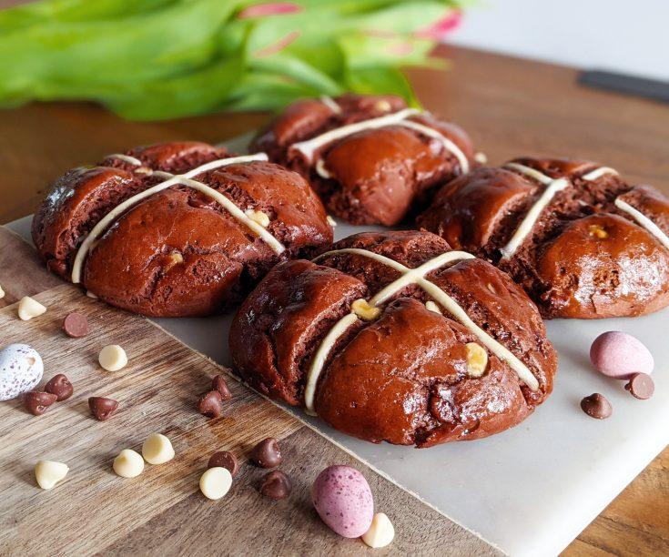 Chocolate Hot Cross Buns (GF)