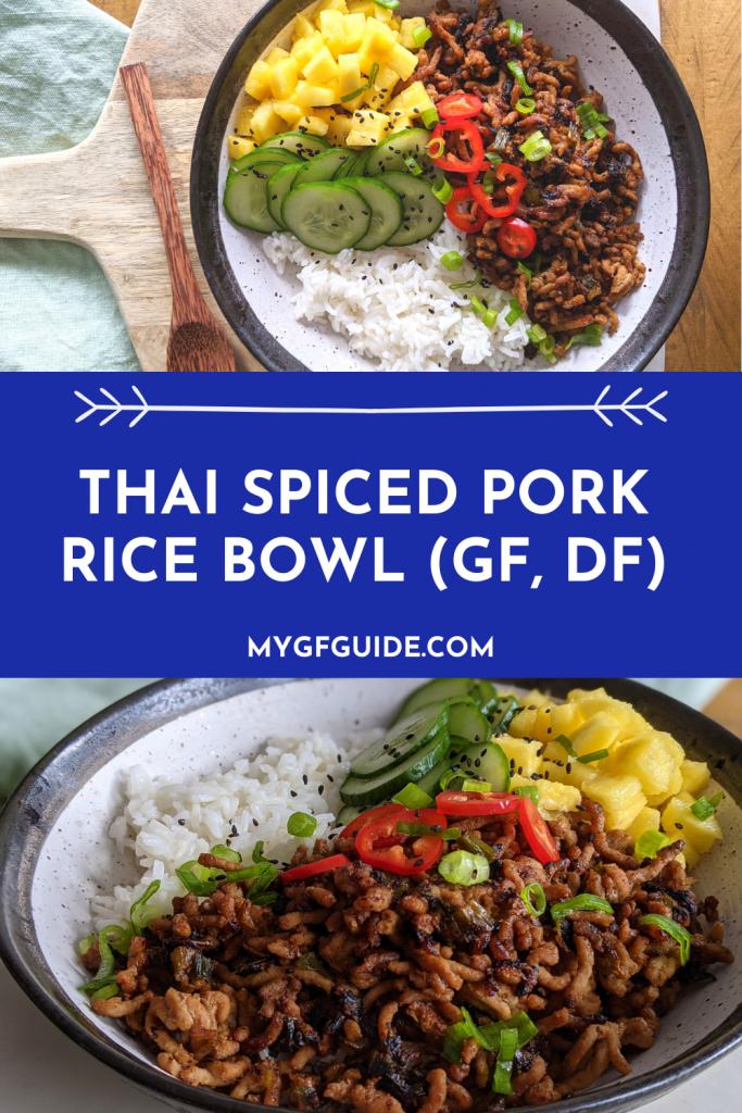 thai spiced pork rice bowl pinterest