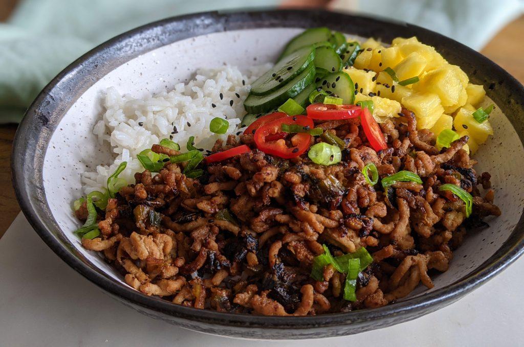thai spiced pork rice bowl