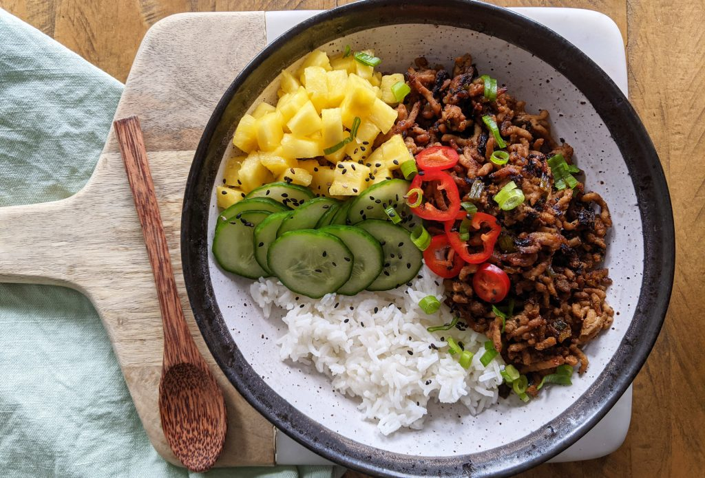 thai spiced pork rice bowl recipe
