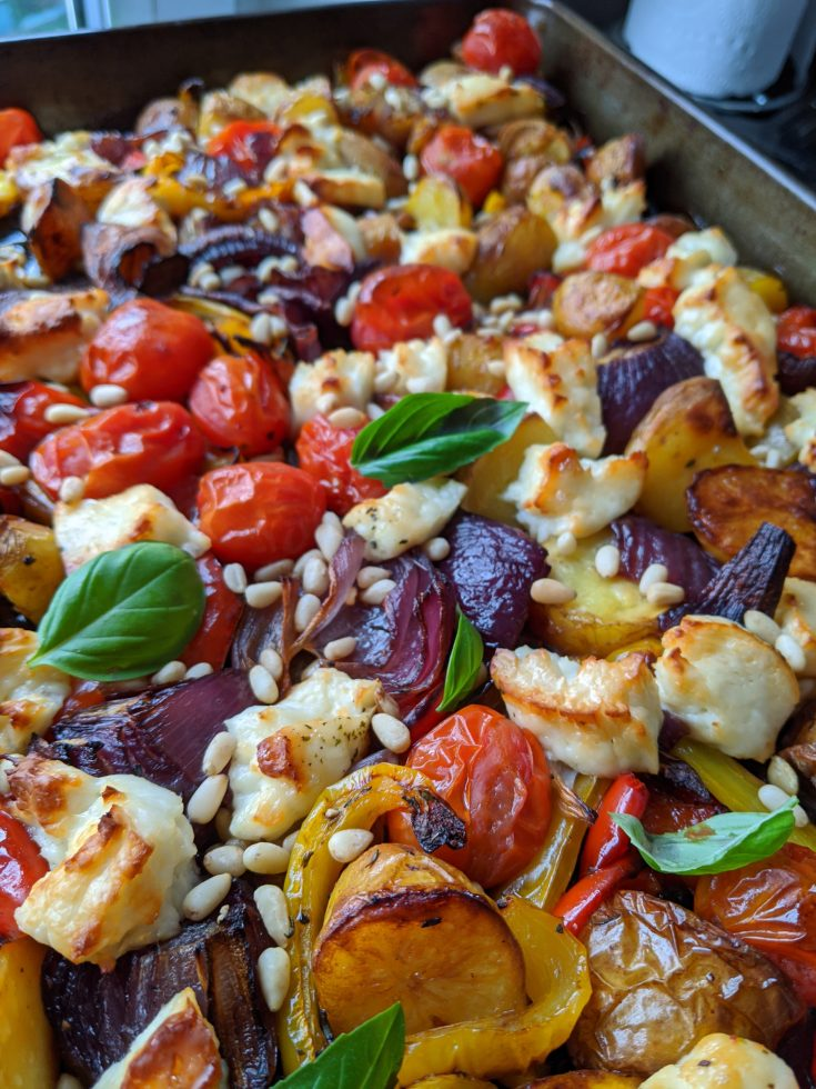 Easy Tray Bake Supper with Halloumi, Pomegranate and Minted Yoghurt