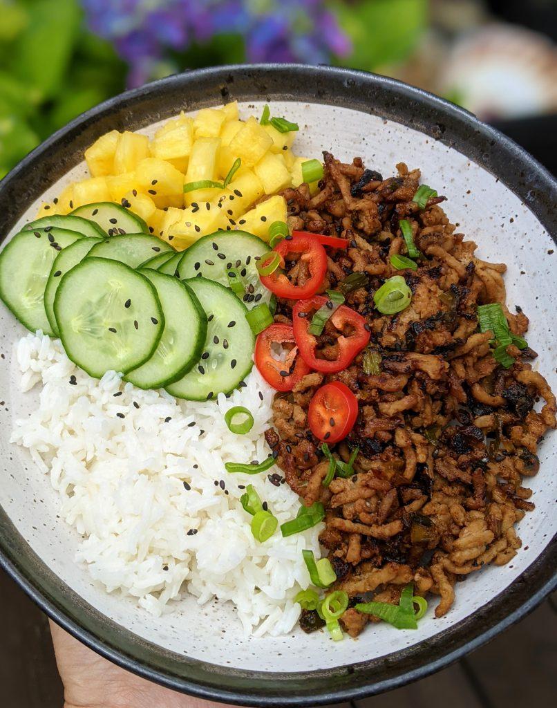 gluten free dairy free pork rice bowl