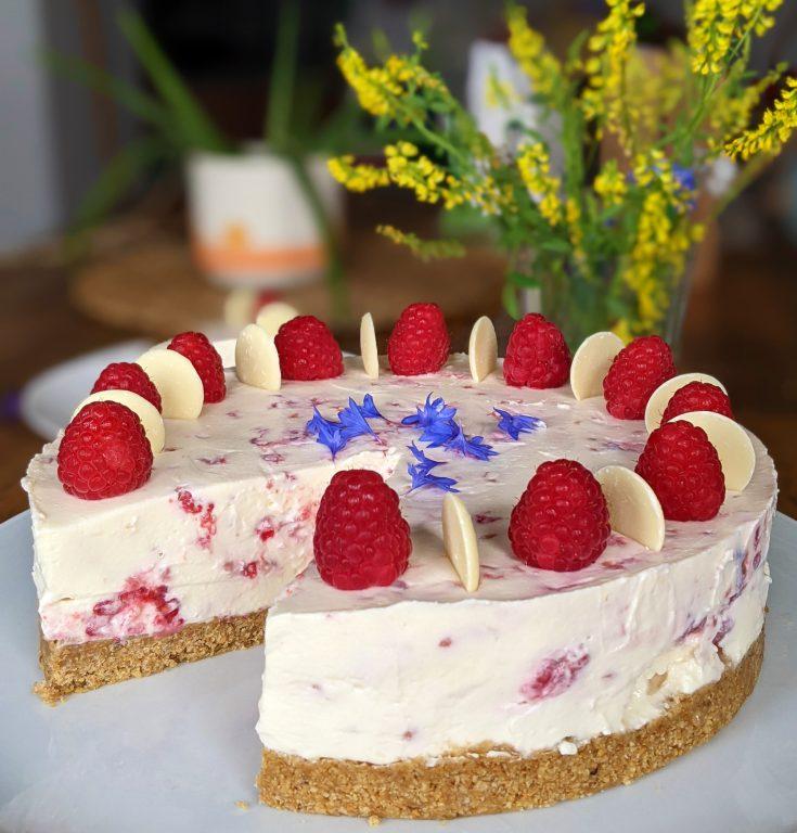 White Chocolate & Raspberry Cheesecake (GF)