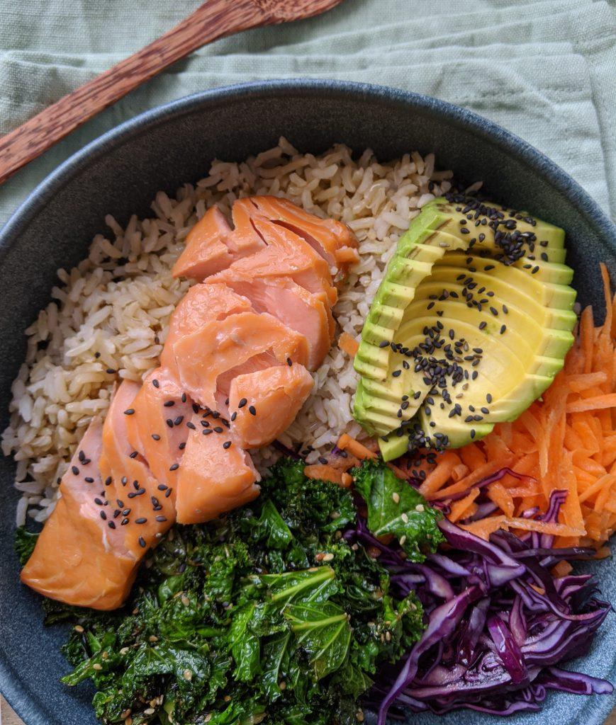 rainbow rice bowl gluten and dairy free recipe