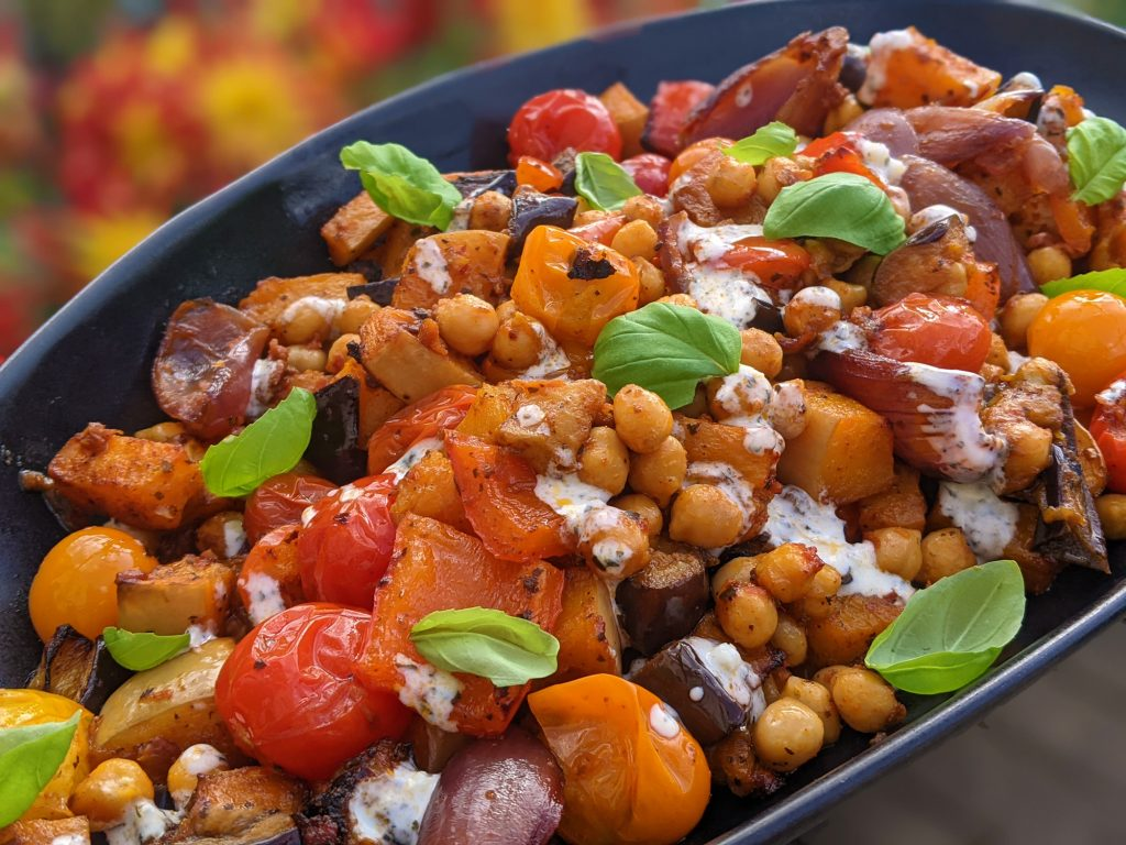 Harissa Pesto Aubergine, Butternut & Chickpea Traybake Recipe