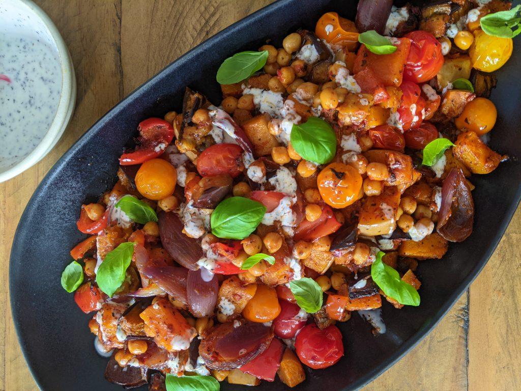 Harissa Pesto Aubergine, Butternut & Chickpea Traybake Recipe uk
