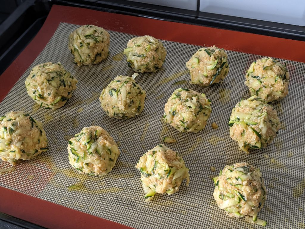 courgette balls ready to be baked