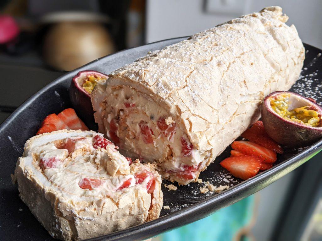 strawberry and passion fruit meringue roulade recipe uk