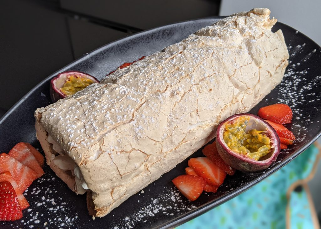 strawberry and passion fruit meringue roulade recipe gluten free