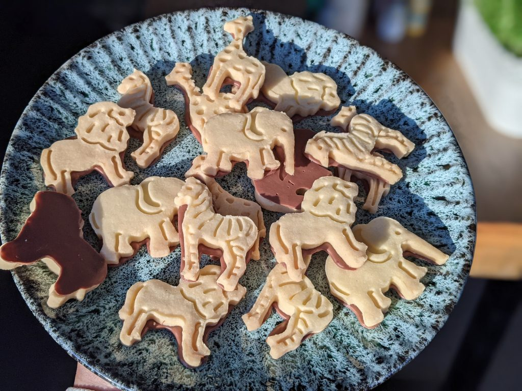 plate of gluten free chocolate animal biscuits